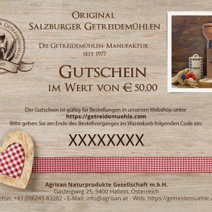 Gutschein im Wert von Euro 50 - Salzburger Getreidemühlen