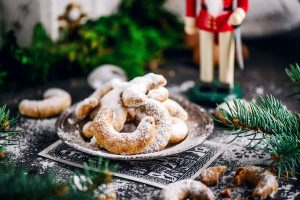 Christmas AUSTRIAN VANILLEKIPFERL on a Christmas background. Style vintage . selective focus